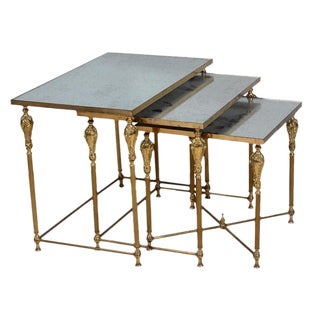 Maison Jansen Style Louis XVI Mirrored Nesting Tables - Set of 3