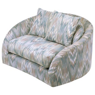 Adrian Pearsall Swiveling Club Chair in Original Flame Stitch Upholstery