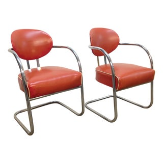 KEM Weber Vintage Canitlever Arm Chairs - Pair