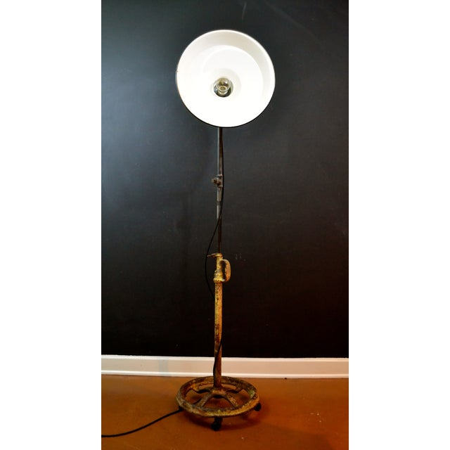 Image of Industrial Floor Lamp With Green Enamel Shade