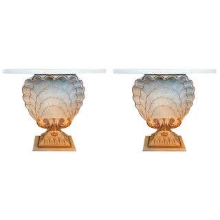Maison Jansen Shell Form White & Gilt Demi-Lune Console Tables - a Pair