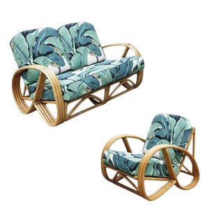 3/4 Round Pretzel Restored Rattan Lounge Chair & Sofa w/ Beverly Palms Cushions