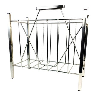 Mid Century Modern Chrome Plated Magazine Record Rack