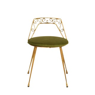 1940s Italian Gilt Back & Velvet Seat Dressing Stool