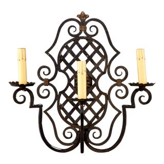 Vintage French 3 Light Iron Sconce