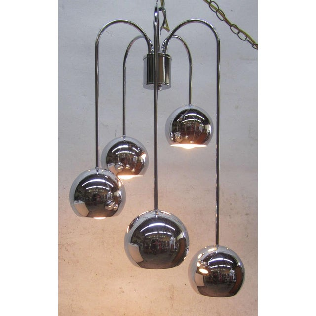 Five-Tier Chrome Pendant Lamp By Robert Sonneman - Image 5 of 6