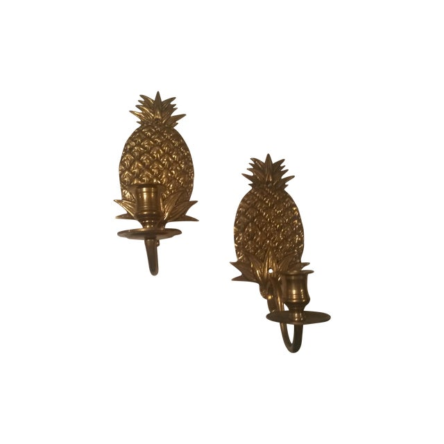 Image of Brass Pineapple Wall Sconces - Pair