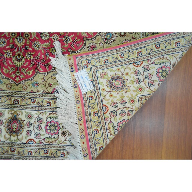 Hand Knotted Turkish Silk Rug - 4′ × 5′10″ - Image 9 of 9