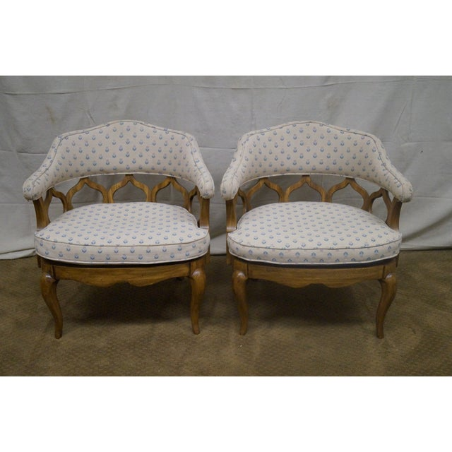 Image of Walnut Barrel Back Club Lounge Chairs - A Pair