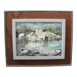 Vintage Mid-Century Watercolor Waterfront Painting by Genevieve Wilhelm