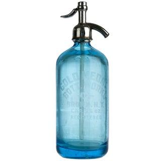 Vintage Gold Medal Blue Glass Seltzer Bottle