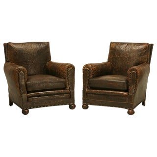 French Leather Club Chairs in Faux Crocodile
