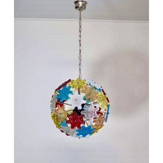 Murano Multicolored Floral Sputnik Chandelier, 1970 - Image 2 of 4