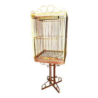 Shabby Chic Metal Bird Cage on Wrought Iron Stand