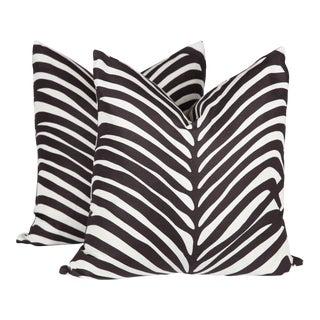 Zebra Palm Print Pillows - A Pair