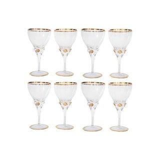 Gold Rimmed Wine Glasses - S/8