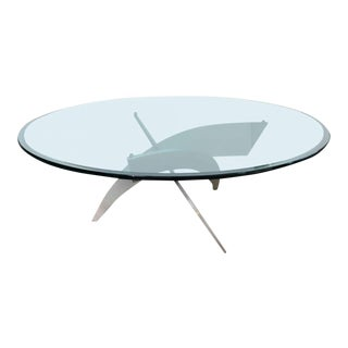 Italian Modern, Stainless Steel and Glass Low Table
