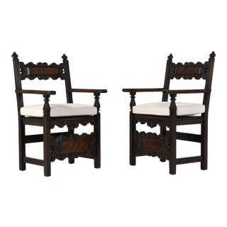 Antique Traditional Pair of Spanish Colonial Style Arm Chairs