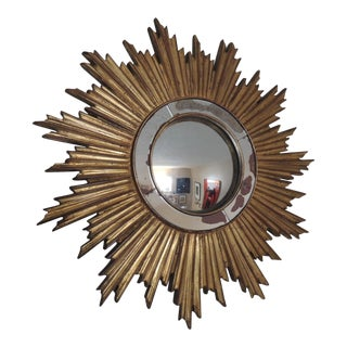 Vintage Gold Sunburst Wood Convex Mirror
