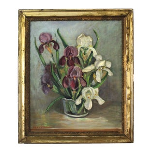 Mid-Century Iris Oil Painting by Jane Cramer