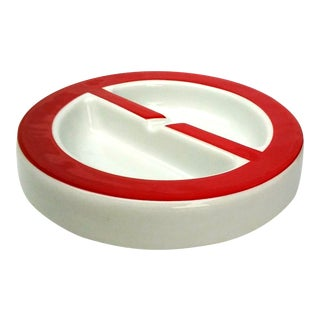 Red & White Ceramic Ashtray by Miguel Mila for B&T