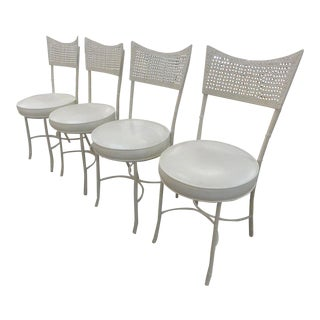 Faux Bamboo Metal Bistro Chairs - Set of 4
