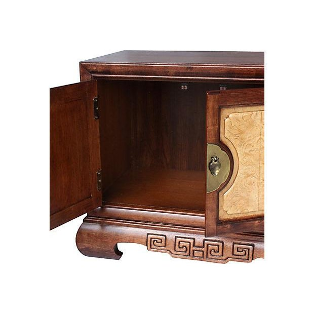 Image of Walnut & Birch Asian Nightstands, Pair