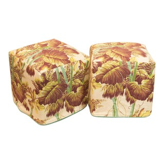 Vintage Tropical Slipcovered Ottomans - A Pair