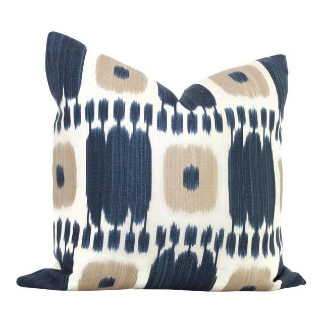 Schumacher Kandira Blue Tan Ikat Pillow Cover - Image 1 of 4