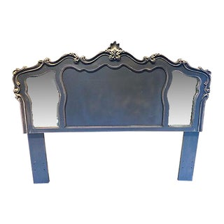 Vintage French -Style Headboard Newly Painted in Grey & Off White