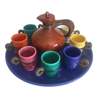 Metlox Poppy Trail Ceramic & Teak Beverage Serving Set