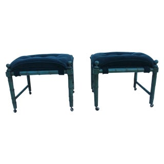 Decorative Faux Bamboo Benches - A Pair