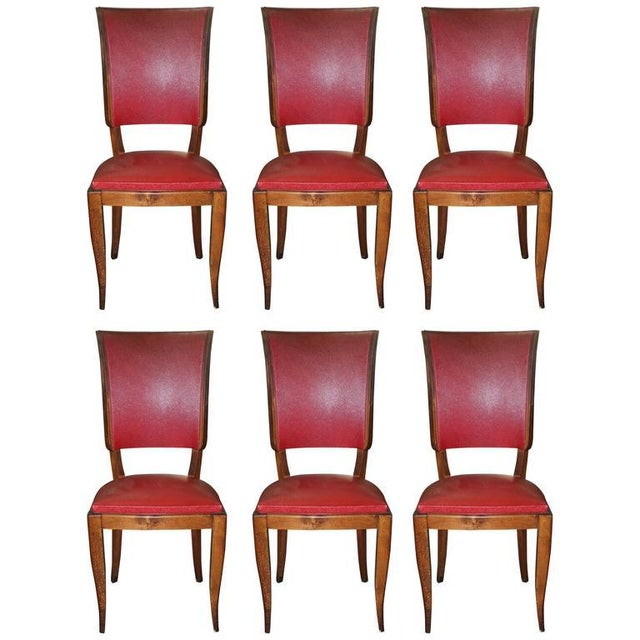 Set of Six French Art Deco Classic Solid Mahogany Dining Chairs, circa 1940s. - Image 3 of 10