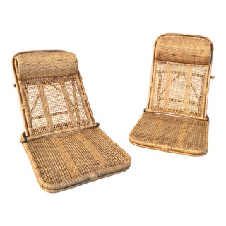 Vintage Rattan And Wicker Reclining Floor Chairs- A Pair