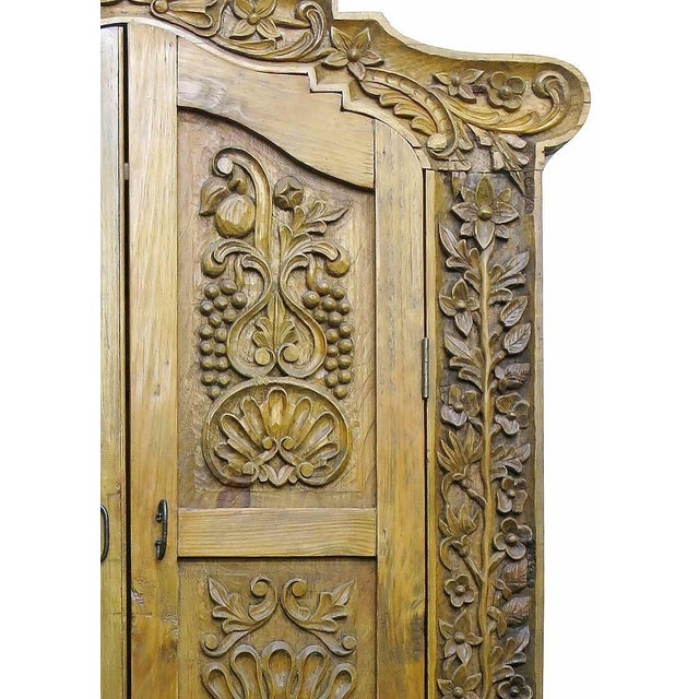 Image of Carved Repurposed Antique Wood Wardrobe Tv Cabinet