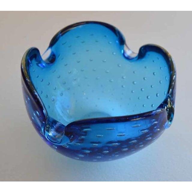 Alfredo Barbini Murano Dimpled Blue Bowl - Image 4 of 7