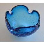 Image of Alfredo Barbini Murano Dimpled Blue Bowl