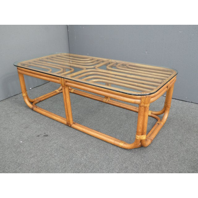 Vintage Bamboo Glass Top Coffee Table Chairish