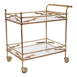 Gold Leaf Bar Cart With Laurel Leaves