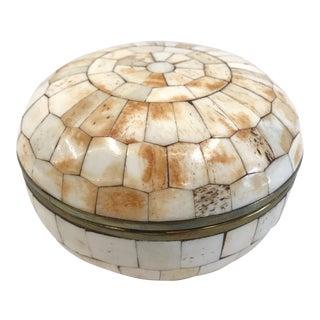 Vintage Trinket Box Tessellated Bone Over Brass