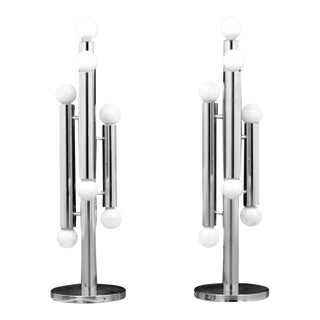Sculptural Chromed Steel Table Lamps - A Pair
