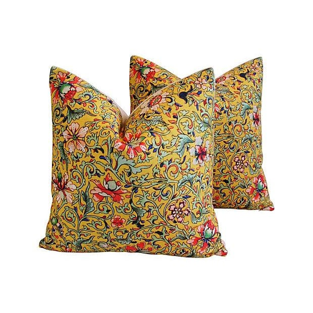 Colorful Asian Floral Linen Pillows - a Pair - Image 1 of 7