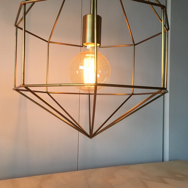 Gold Geometric Cage Pendant Light - Image 5 of 5
