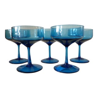 Vintage Blue Glass Champagne Coups- Set of 5