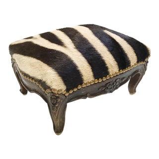 Forsyth One of a Kind Vintage Footstool in Zebra Hide