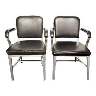 1950s Vintage Emeco Aluminum Solid Back Armchairs - a Pair