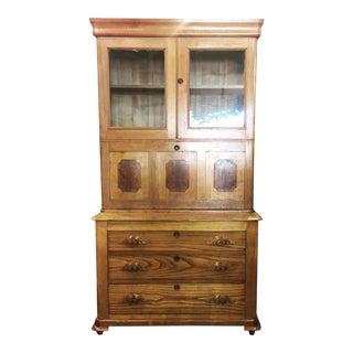 Antique Oak & Walnut 2 Piece Drop Front Secretary Bookcase