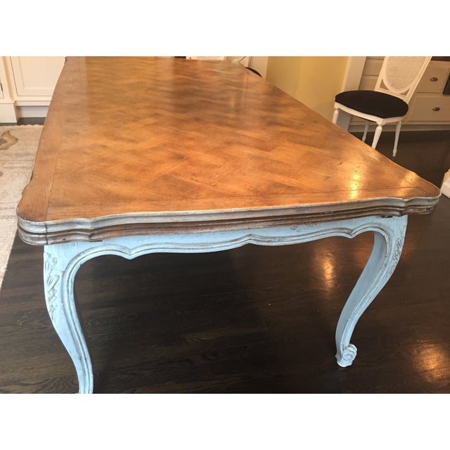 French Country Parquetry Top Dining Table - Image 3 of 6