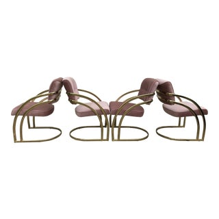 Milo Baughman Brass Cantilever Dining Chairs - Set of 4