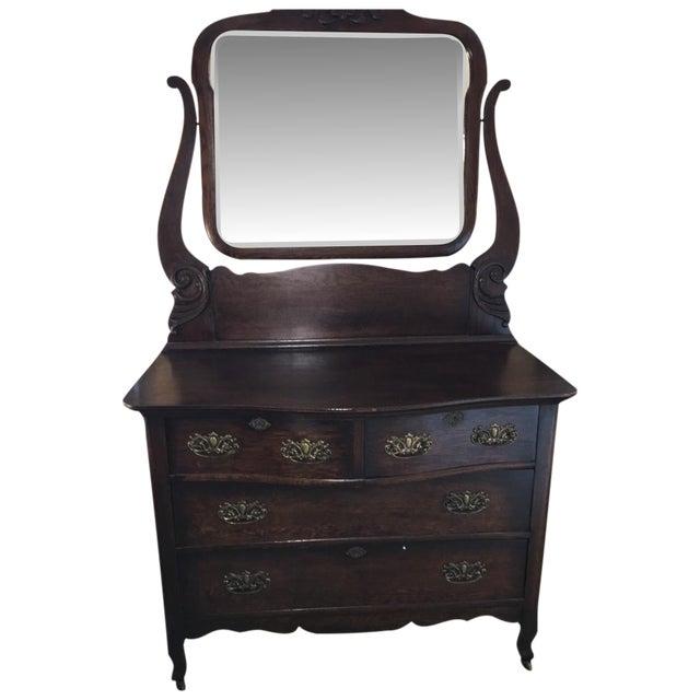 Antique Oak Serpentine Chest & Chevell Mirror - Image 1 of 5